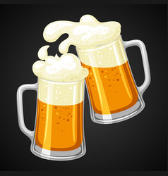 mugs with light beer and froth for vector image