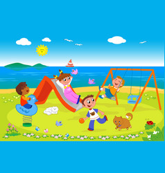playground at the seaside vector image