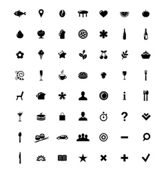 Restaurant And Map Icons Set vector image vector image