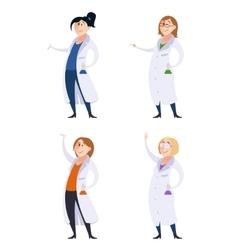 Set of scientist women vector image vector image