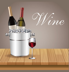 bottle wine ice bucket glass cup table wooden vector image vector image