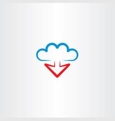 cloud and arrow download icon vector image