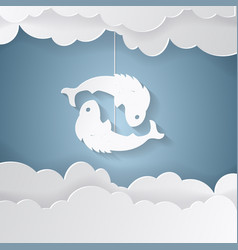 horoscope paper cut style concept of two fish for vector image