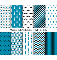 set of seamless male blue patterns vector image vector image