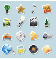 Sticker icons for entertainment vector image vector image