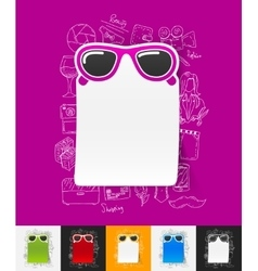 sunglasses paper sticker with hand drawn elements vector image vector image