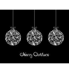 Three White Christmas balls on black background vector image