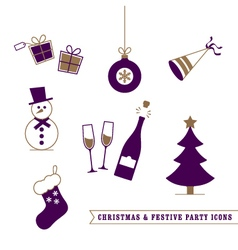 Christmas and Festive Icons vector image vector image