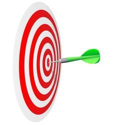 Darts hit the bulls eye vector image vector image