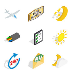 flight vessel icons set isometric style vector image vector image