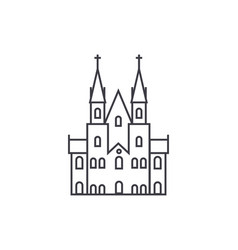 gothic castle line icon sign vector image