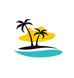 Island with palms sea and sun logo vector image vector image