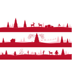 merry christmas landscapes set of red festive vector image vector image