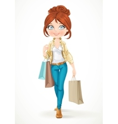 Shopaholic brunette girl goes with paper bags vector image