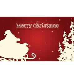 Silhouette of santa and sleigh on red backgrounds vector