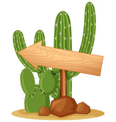 wooden sign on cactus plant vector image