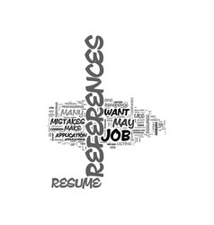 a resume reference guide text word cloud concept vector image vector image