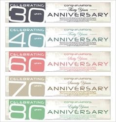 Anniversary retro banner set vector image vector image