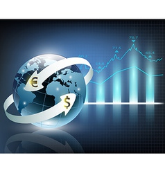 arrows around planet earth and world currency vector image vector image
