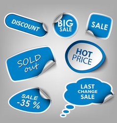 Blue collection stickers sale discount template vector image vector image