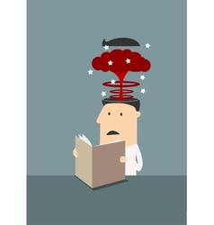 Businessman with brain explosion in head vector image vector image
