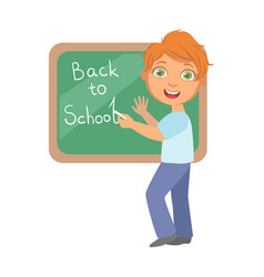 elementary school student writing text back to vector image vector image