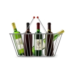 Metallic Shopping Basket With Wine Pictogram vector image vector image