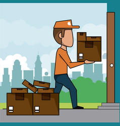 poster scene city landscape of fast delivery man vector image vector image