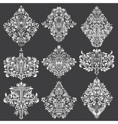 Set of ornamental elements for design White floral vector image