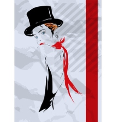 The girl in style of cabaret vector image vector image