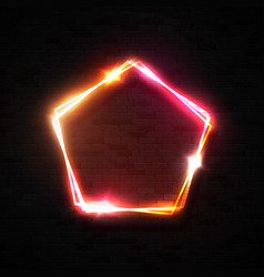 3d neon sign electric pentagon frame on brick wall vector