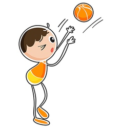 A boy playing basketball vector