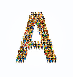 A group of people in english alphabet letter a vector