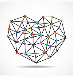 abstract colorful geometric heart of lines and dot vector image