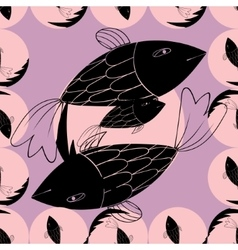 Abstract geometric background with fishes vector image