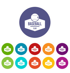 Baseball icons set color vector