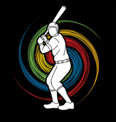baseball player action cartoon sport graphic s vector image