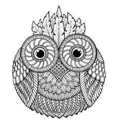Birds theme owl black and white mandala vector