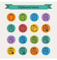 Black Clipboard icons set in flat style vector