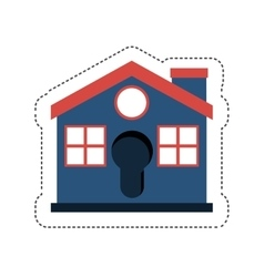 Blue house icon vector