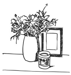 bouquet flowers in vase hand drawn black lines vector image