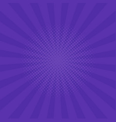 Bright purple rays background comics pop art style vector