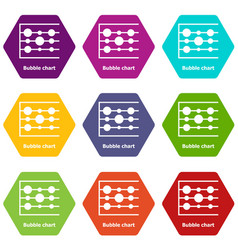 Bubble chart icons set 9 vector