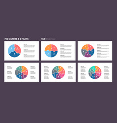 Business infographics pie charts with 3-8 steps vector
