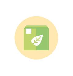 cardboard box nature green energy block icon vector image