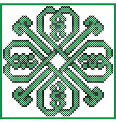 Celtic endless knot in clover with hearts elements vector image