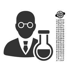 Chemist icon with work bonus vector