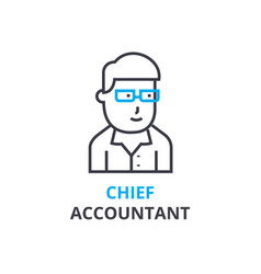 Chief accountant concept outline icon linear vector