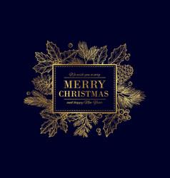christmas card merry frame festive vector image