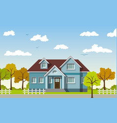 classic cottage in the autumn landscape vector image